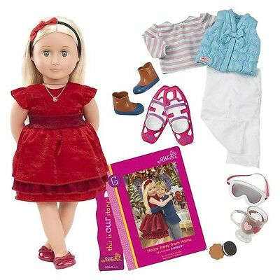 New Our Generation Doll 18 Inch Ginger Deluxe Doll With Book & 2 Outfits