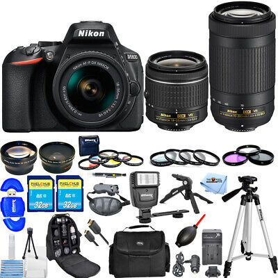 Nikon D5600 DSLR Camera W/ AF-P 18-55mm + 70-300mm VR Lenses ALL YOU NEED BUNDLE