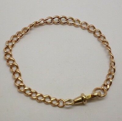 Vintage Classic Traditional 9ct Rose Gold Graduated Albert Chain Charm Bracelet