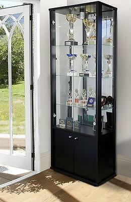Showcase Retail Shop Display Glass Display Cabinets With Storage In Black
