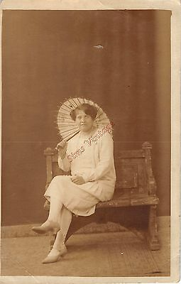 People Postcard 1920s ? Lady With Parasol Brolly Vintage Fashion Blackpool P1 14