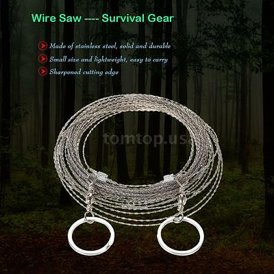 Hiking Camping Stainless Steel Wire Saw Emergency Travel Survival Gear P3W6