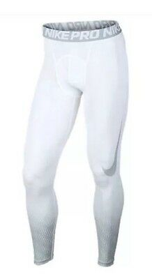 Nike Pro Cool Sonic Flow Compression Tights Mens 743019-100 White/Gray Size Med