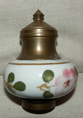 Beautiful vintage china and brass salt/pepper pot