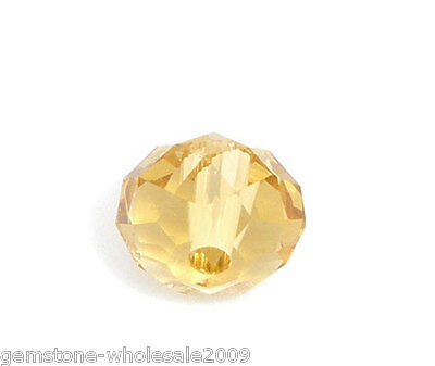 Wholesale Lots Champagne Crystal Glass Faceted Rondelle Beads 6mm