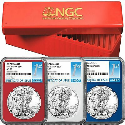 PRE-SALE 2017 SAE MS70 FDI NGC 1st Label Red, White & Blue Core 3pc Set Red NGC