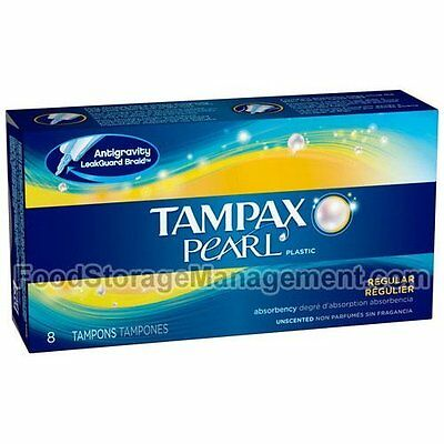 2 Pack - Tampax Pearl Plastic Regular Unscented Tampons 8 Each