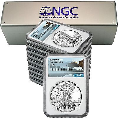 2017 SAE MS70ER NGC Bald Eagle Label 10pc in NGC Box