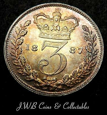 1887 Queen Victoria Young Head Silver 3d Threepence Coin High Grade - Ref; t/m