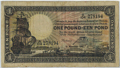 1940 South Africa 1 Pound Banknote Pick #84e Nice Circ. Note