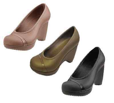 Ladies Crocs Slip On Platform Wedge Shoes 3 Colours Available Style LENA