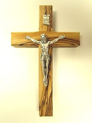 Olive Wood Crucifix, Hanging Wall Cross from Holy Land - Bethlehem, Jerusalem