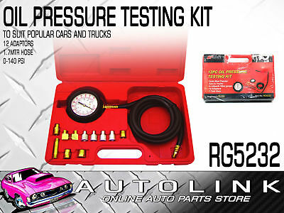 PRO-KIT RG5232 OIL PRESSURE TOOL TEST KIT 0 - 140 psi / WITH GAUGE 12 ADAPTERS