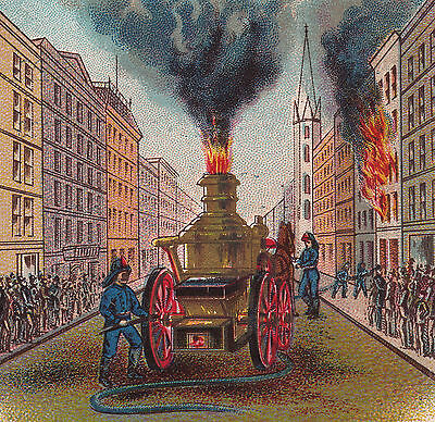 Antique Steam Pumper Fire Engine Laird Schober Mitchell Shoe Philadelphia Card