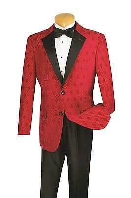 Mens Formal Tuxedo Prom Wedding Groom Suit Classic Fit 2 Button 2-Tone Red Black