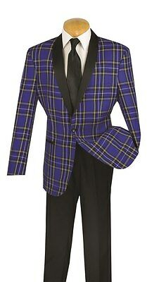 Men's Formal Tuxedo Prom Wedding Groom Suit Classic Fit 1 Button Blue & Black