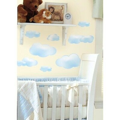 New BLUE CLOUDS 19 Big Peel & Stick Wall Decals Baby Nursery Kids Room Sky Decor