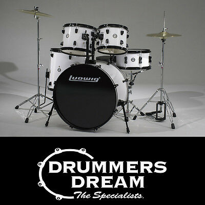 NEW Ludwig Accent 5 Piece Drive Drum Kit With cymbals & Hardware - White Finish