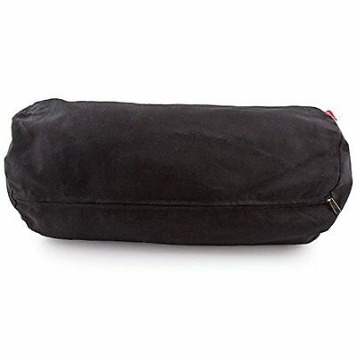 Zafu Meditation Yoga Buckwheat Filled Cotton Cylinder Bolster Pillow Black Relax