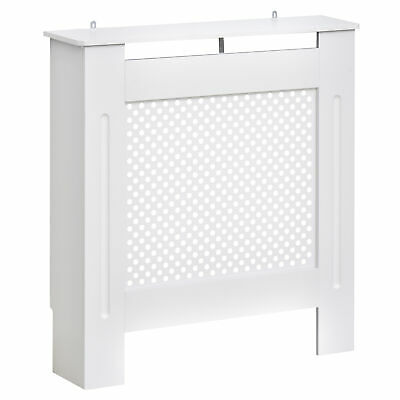 HOMCOM Radiator Cover Solid MDF Small Sized White Modern Home Design Painted