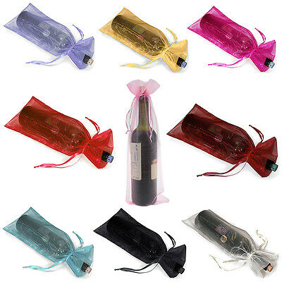 10pcs Organza Wine Bottle Gift Bags Holiday Christmas Party Weddings Colorful