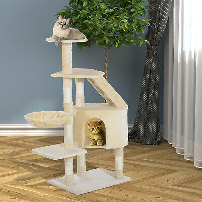 "Deluxe 49"" Cat Tree Furniture Scratching Pet House Condo Tower Play Creamy White"