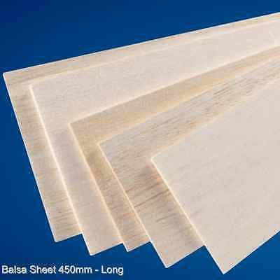 "Balsa wood Sheet 450mm Long x 75mm or 100mm (3"",4"") Wide - Various Thickness"