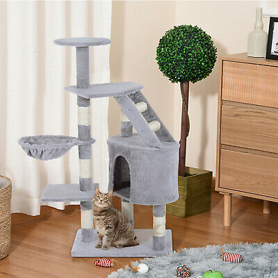 """Deluxe 49"""" Cat Tree Scratching Post Pet House Tower Play Activity Center Grey"""