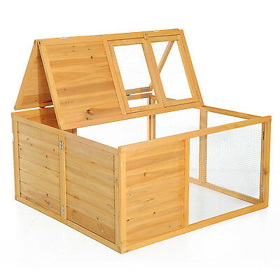 "47"" Folding Top Wood Rabbit Hutch Small Pet Cage Poultry House W/ Run Mesh Cover"