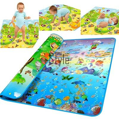 2x1.8M Large Two Sides Thick Baby Play Mat Activity Picnic Ocean Crawl Mat TXST