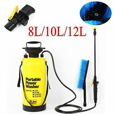 8/10/12L Portable Pressure Power Washer Pump Spray Jet Car Lance Cleaner Brush