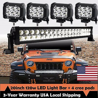 """20inch LED Light Bar Spot Flood Combo + CREE 4x 4"""" Pods Ford SUV 4WD Jeep UTE 24"""