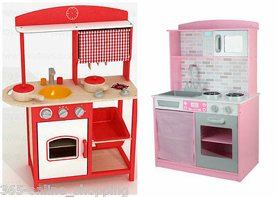 Large Girls Kids Pink / Red Wooden Play Kitchen Children's Play Pretend Set Toy
