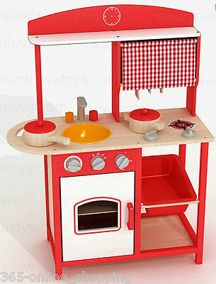 Red Kids Wooden Play Kitchen Cooking Pretend Culinary Children Xmas Toy UK NEW