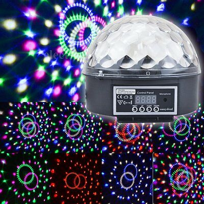 RGB Voice Activated Crystal LED Magic Ball Effect Light Disco DJ Stage Lighting