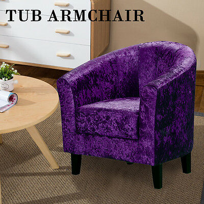 Luxurious Fabric Upholstered Chenille Tub Armchair Occasional Living Room Chair