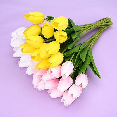 12pcs PU Fake Artificial Silk Tulips Flores Flowers Party Wedding Decor