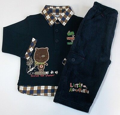 Pequilino baby boy top trouser outfit set blue bnwts 6-12 month