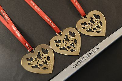 3 Georg Jensen 2014 Christmas Heart Decorations 24k GOLD + Red ribbons NEW