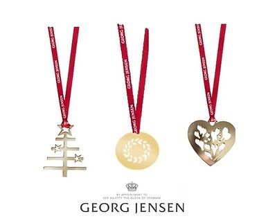 3 Georg Jensen Christmas Decorations 24k GOLD + ribbons NEW 2014-2016 l.edition
