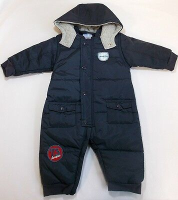 Pequilino baby boy snowsuit padded hooded blue 3-6 month 12-18 month bnwts
