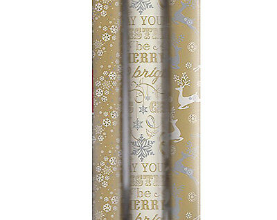 15m Christmas Gold White Wrapping Paper 3x5m Roll Xmas Giftwrap Reindeer