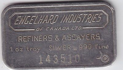 Rare Engelhard Industries of Canada 1 oz 999 Silver Bar with Large Font Serial #