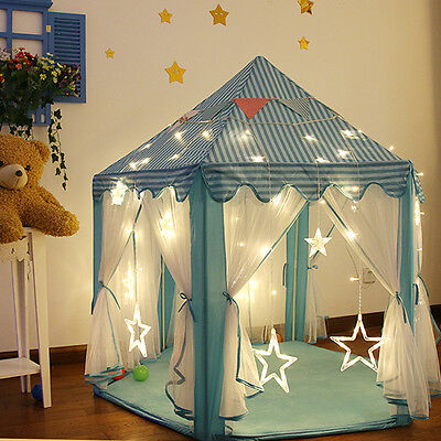 2016 Princess Blue Castle Play house children children outdoor play tent with li
