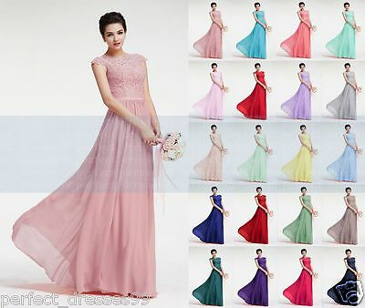 New Long Lace/Chiffon Evening Formal Prom Party Ball Bridesmaid Dress Size 6-18
