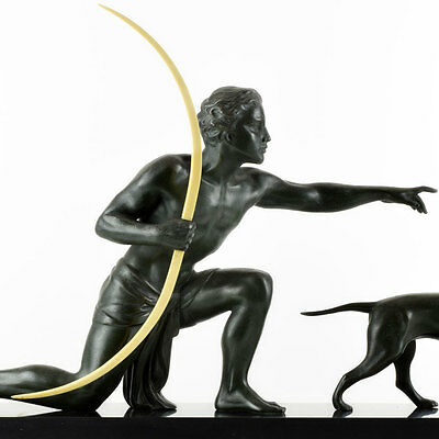 Fab 1920s French ART DECO Nude Male Archer SCULPTURE by URIANO, signed