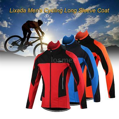 Men's Cycling Jacket Winter Thermal Sportswear Long Sleeve Coat Riding R5X7