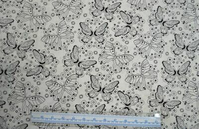 Cotton Fabric, Butterfly Black on White, 110cm Wide Per 50cm, Quilting, Sewing