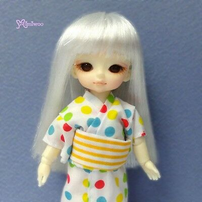 """Mimi Collection Hujoo Baby Suve 4-5"""" Heat Resistant Long Straight Bjd Wig Silver"""