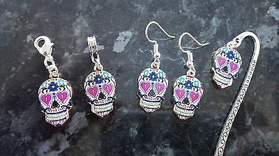 Mexican Day of the Dead Pink Sugar Skull European Clip Charm Bookmark Earrings